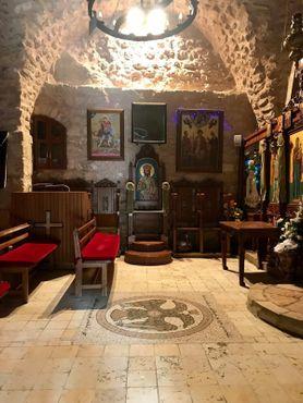 Православная церковь Эль-Хадер (Святого Георгия). На полу изображён двуглавый орёл, символ Византийской империи
