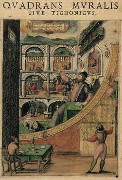 Изображение Браге, наблюдающего за своим настенным квадрантом