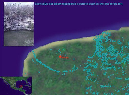 Карта, показывающая распределение сенотов, соответствующих краям кратера