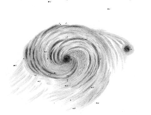 Иллюстрация M51, показывающая спиральную структуру, авторства Уильяма Парсонса, третьего графа Росс