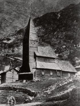 Оригинальное здание церкви в 1873 году до его перемещения из Фортуна