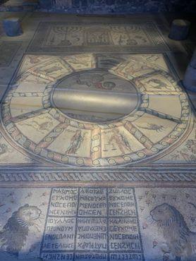 Напольная мозаика, зодиак в центре, наверху синагогальный ковчег