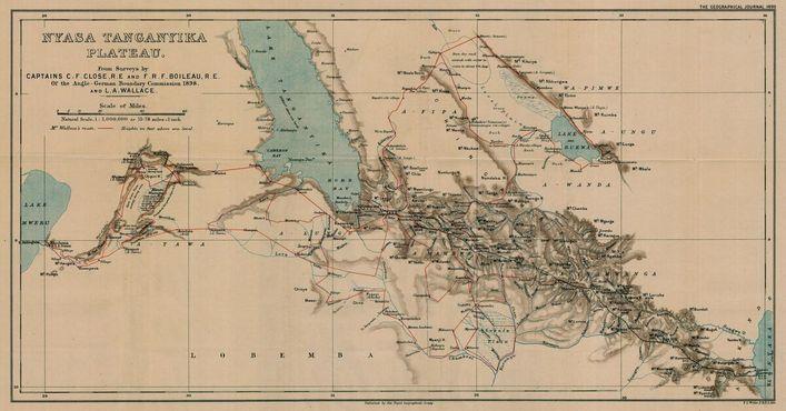 Карта «Дороги Стивенсона» в 1898 году
