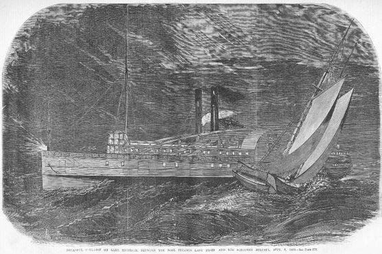 """Газетная иллюстрация """"Крушение парохода """"Леди Элджин"""", 22 сентября 1860 г."""