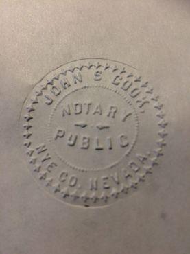 Риолит, Невада. Банковская печать«Джон С. Кук & Co». Примерно 1907 год