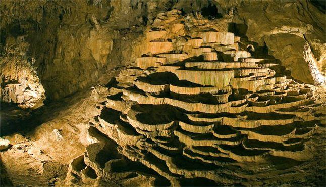Травертиновые террасы в пещере