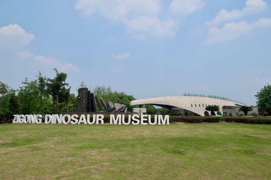 Главная вывеска музея динозавров в Цзыгуне