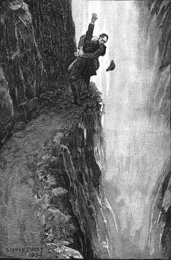 Иллюстрация Сидни Пейджета о Холмсе у водопада