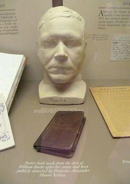 Посмертная маска Уильяма Бёрка и карманная книга в переплёте из его кожи в музее «Зал хирургов», Эдинбург