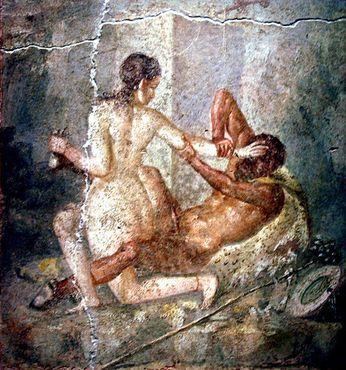 Гермафродит борется с сатиром. Фреска из Помпеев