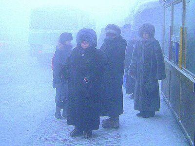 Замерзшие люди в меховых шапках ждут автобус