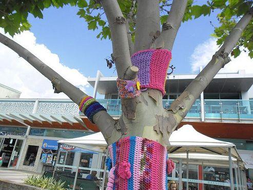 Дерево в Мельбурне, подвергшееся«бомбардировке пряжей»