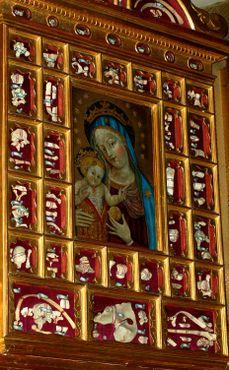 Реликвии в виде костей на стене церкви