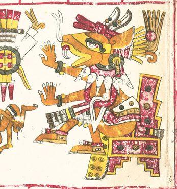 Изображение ацтекского бога Уэуэкойотля в Кодексе Борджиа