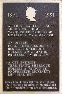 Мемориальная доска, отмечающая место поединка Холмса с Мориарти