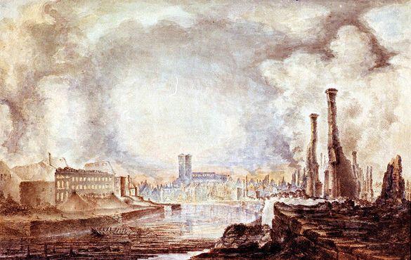 Изображение центра города Турку (включая Кафедральный собор) в 1827 году после Великого пожара