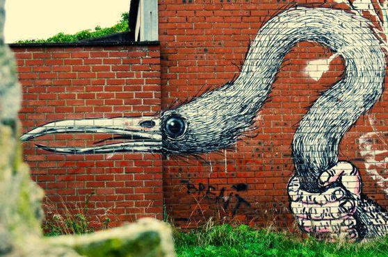 Граффити с изображением птицы