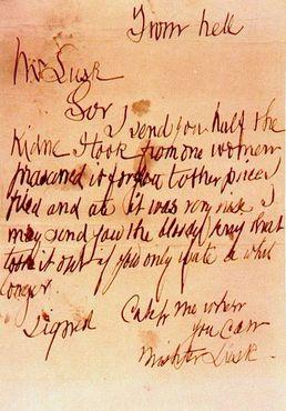 Письмо Джека Потрошителя «из ада»