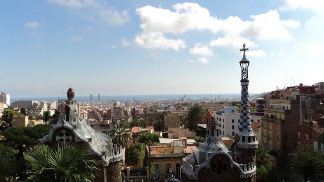 Панорамный вид на Барселону из парка Гуэль