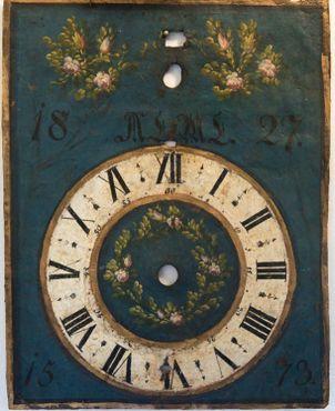 Расписной циферблат небольших часов готического периода 1573 года, сделанных в Южной Германии