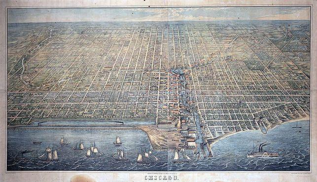 """Чикаго в 1857 году. """"Леди Элджин"""" внизу справа"""