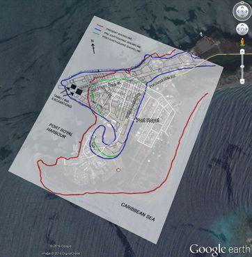 Схема Порт-Ройала наложенная на карту