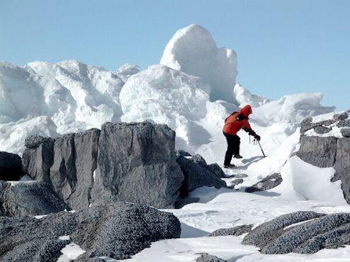 Пробираясь через ледяные башни у нижнего уровня Эребуса