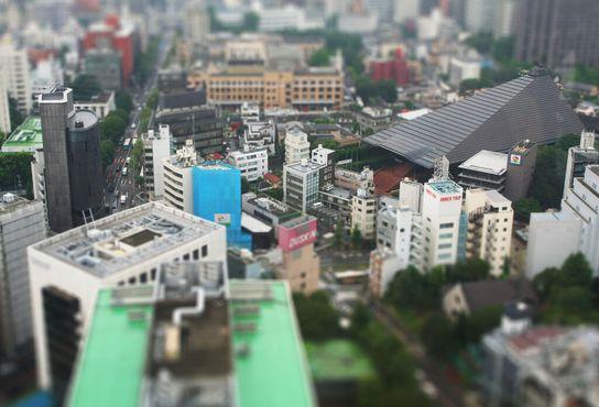 Токийский пейзаж, показанный под углом, напоминает миниатюру самого себя