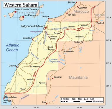 Марокканская стена на карте Западной Сахары