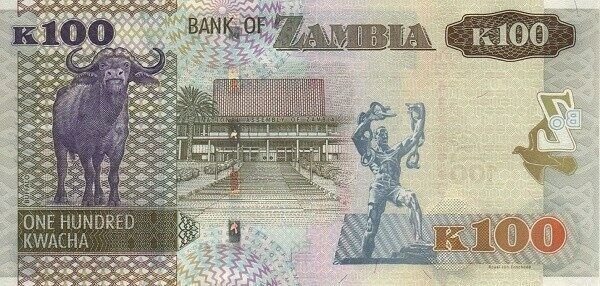 Статуя Свободы находится на банкноте номиналом 100 замбийских квач