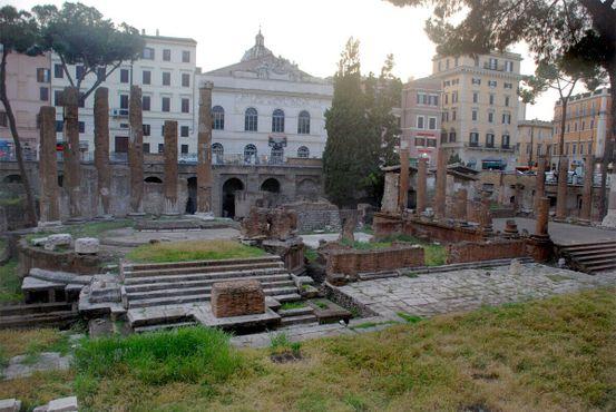 Вид на древние руины и приют для кошек