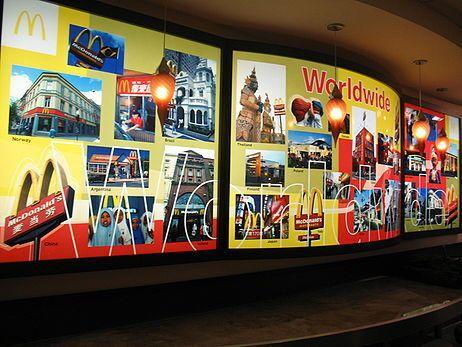 Музей наверху отображает каждое десятилетие развития сети