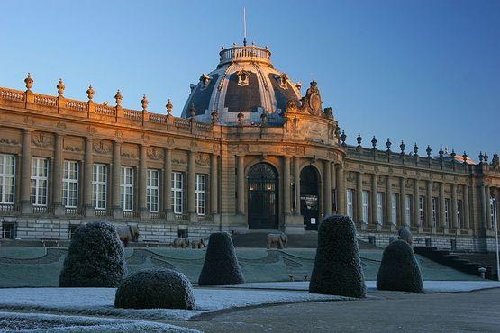 Вид на Королевской музей Центральной Африки в морозное зимнее утро